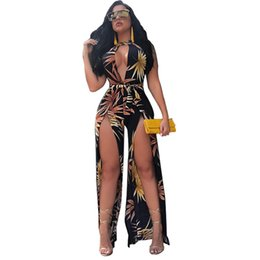 400730ff5eb1 Summer Style High Cut Halter Jumpsuit Bohemian Floral Print Romper Women  Elegant Hollow Out Playsuit Sexy Split Loose Overall