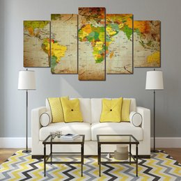 world map prints canvas UK - 5 Pcs Set Framed HD Printed World Map Group Painting wall art room decor print poster picture canvas Free shipping ny-386