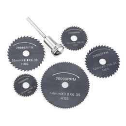 dremel saw Canada - 6pcs HSS Circular Saw Blades Rotary Cutting Tools Set multi tool for Power Tool Wood Cutting Discs dremel Drill Mandrel Cutoff