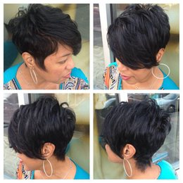 Barato Laço Africano Indiano-Afro-American Short Bob Perucas para mulheres 4 Inch Unprocessed Indian Virgin Cabelo Humano Bob Cut Full Lace Lace Frente Perucas Glueless