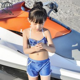 Pantalones Cortos De Baño Baratos-Niños Niños Summer Swimwear Chicas 3-pieza Swimsuit Crop Top Beach Shorts + Sun Protección Cubrir Boys Swimming Trunks Hoodies