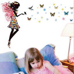 $enCountryForm.capitalKeyWord NZ - Angel Wings Beautiful Girl Flowers Butterfly DIY Wall Stickers Removable Home Decor Mural Decal Kids Room Nursery Decor