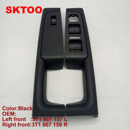 Inner door handle online shopping - 2pcs for Skoda Superb door handle front left and right door armrest box inner handle frame lifter switch box black