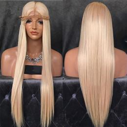$enCountryForm.capitalKeyWord Canada - Full Lace Wig Cheap Weaving Wig Blond Hair Gluless # 613 Virgin Brazilian Hair Straight Blond Hair In Front Of Black Pearl Human White Women