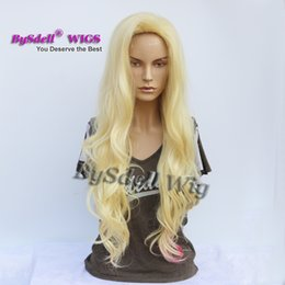 Chinese  Premium Natural Long Wavy Solide Blonde Color Hair Wig Synthetic Heat Resistant Hair Custom Cosplay Party Wigs for Drag Queen manufacturers