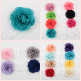 Birthday Headbands Canada - Hot Girls Flower Headband Rose Lace Elastic Hair Band Accessories For Kids Birthday party Drop Shipping YH657