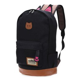 New fashion campus School bag girls backpack women travel bag of young men  canvas backpack bags Cat ears cartoon package B 73618b44fba40