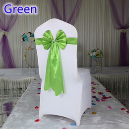 Style Chairs Canada - Green colour chair sash long tail butterfly style wedding chair decoration luxury chair bow tie wholesale lycra spandex sash