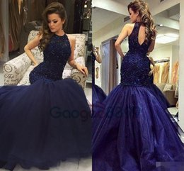 Beaded Mermaid Prom Pageant Dress Canada - Navy Blue Evening Party Formal Wear gowns 2017 Modest Heavy Beaded Top Long Mermaid Keyhole Neck Luxury Occasion Prom Pageant Dresses
