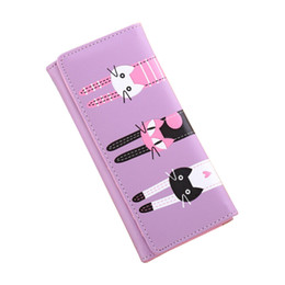 China Wholesale- Fashion Long Style Women Wallet Bright Leather Candy Color Lady Purse Delicate Dimond Double Cat Girl Lovely Change Purses cheap black leather cat purse suppliers