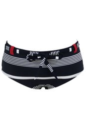 Barato Bikini Marinha Listrado-CRYG 2017 New Women Navy Striped Bow Tie Sash Swim Briefs Summer Beach Swimwear Shorts Alta qualidade Bikini baratos