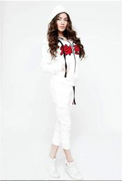 $enCountryForm.capitalKeyWord Canada - New Fashion print 2 piece set women white (Hooded Sweatshirt+Long Pants) Casual sexy women jacket Long sleeve two piece Tracksuits ensemble