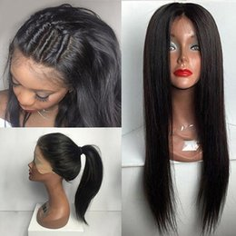 Chinese Knots NZ - Full Lace Human Hair Wigs 150% Density Silky Straight 10-26 Inches Natural Black Bleached Knots Brazilian Virgin Hair Wigs