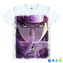 Barato Xl Xxl Seis-Kukucos Anime Naruto Sasuke Black Handsome Kakashi Six Road Fairy Figura Clássica Long Short Short Sleeve T-Shirt Cosplay Costume