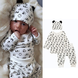 infant winter suits NZ - Kids Clothing Sets Panda Winter Autumn Spring Casual Suits Shirts Pants Hat Infant Outfits Kids Tops & Shorts 0-24M