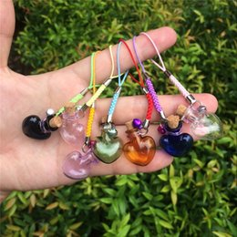 $enCountryForm.capitalKeyWord Canada - Glass Bottles Charms Hearts Shape Mini Bell Bracelets Bottles with Key Chains Jars Glass Charms Mixed Colors 7pcs