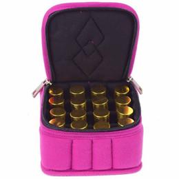 Vente en gros Vente en gros- 16 Lattices Cosmetic Bag pour Voyage Double Zipper Oil Carrying Case Bouteille d'huile essentielle Boîte de rangement Make Up Sacs