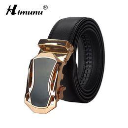Men Belt Leather 36 NZ - Wholesale- [HIMUNU] Brand Designer Belts Men High Quality Automatic Buckle Cowhide Genuine Leather Luxury belts for men 110-130cm Men belt