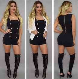 back zipper jumpsuit NZ - Female Summer Casual Short Jumpsuits Buttons Sleeveless Short Rompers Back Zipper One Piece Overalls Casual Bodysuits YD2303