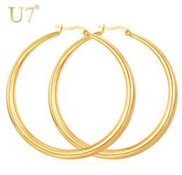 Chinese  Gold Color Hiphop Big Hoop Earrings Stainless Steel Jewelry Simple Style Trendy Circle Round Earrings Women Gift For Her E365 manufacturers