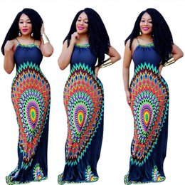 Sexy Xxl Caliente Baratos-Hot Summer National Maxi Dress Impreso Sexy Ladies Adjustbale correas de espagueti Backless vestido largo más el vestido largo S-XXL