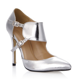 Images Rubber Shoes NZ - 2017 Silver Women Pumps Dress Shoes Buckle Strap High Heels Pointed Toe Ladies Party Shoes Real Image PU Leather Shoes