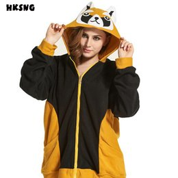 Cute Hoodies Ears Wholesale Pas Cher-Vente en gros - Autumn Winter Anime Animal Cute Cartoon Femmes Kiguruma Hoodies Raccoon Avec Ears Coat Jacket Warm Polar Fleece Plus Size