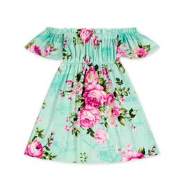 Barato Vestido Floral Com Ombros-Everweekend Girls Off Shoulder Floral Dress Summer Princess Ruffles Cute Cotton Cotton Vestido Western Sweet Baby Dress
