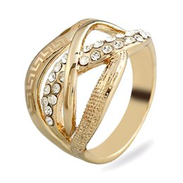 indian carvings 2019 - 2017 new Fashion Vintage Carved Hollow out originality gold Alloy Rings men big gem Crystal Mosaic Rings for women Jewel