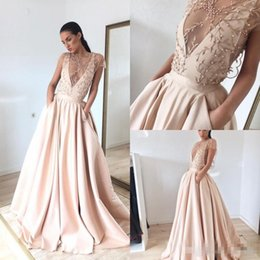 Pink Lace Pearl Collar Dress Canada - Modest Blush Pink Pearls Deep V Neck Prom Dresses 2017 Embroidery A Line Formal Evening Gowns With Pockets Plus Size Party Dress