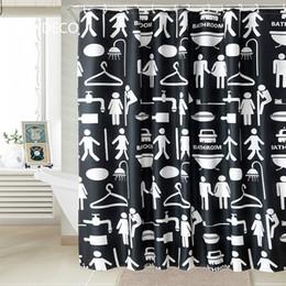 Wholesale  DUNXDECO 200x200CM Modern White Black Man Women Bathroom  Polyester Fabric Shower Curtain Bathroom Waterproof Curtain Home Deco