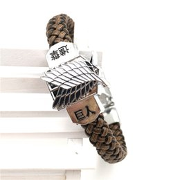 Discount floating charm gold - Wholesale-Attack On Titan Rope Chain Bracelets Shingeki No Kyojin Scouting Legion Floating Charms Men Women Bangles Cosp