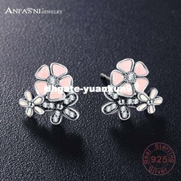 cherry blossom earrings Canada - dhgate New Arrival Authentic 925 Sterling Silver Poetic Daisy Cherry Blossom Stud Earrings Women Lady Original Jewelry PSER0048
