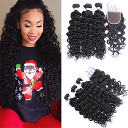 34 inches hair Australia - Free Part Lace Closure With Water Wave Hair Bundles Braziian Wet And Wavy Virgin Human Hair Weaves With 4*4 Top Closure