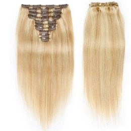 Chinese hair highlights online shopping - 10pcs Straight Clip In Remy Hair Extensions H27 Cheap Highlight Full Head Indian Virgin Clip In Human Hair Extensions g