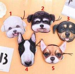 Dog Zipper Canada - Cute Children 3D Girl Wallet Bag Ladies Face Zipper Mini Dogs Coin Purses Children's Purse Plush Bolsa De Moeda Dog pattern Coins Pouch