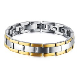 friendship day steel bracelet Canada - Mens Titanium Steel Magnetic Therapy Power Health Care Cuff Bangle Bracelet Silver Gold Chain for Men Friendship Gift