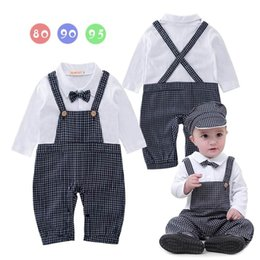 Barato Laço Do Bebê Um-Primavera Outono Baby Boys Rompers Plaid Bow Tie Long Sleeve One Piece Jumpsuits Overalls + Hat Toddler Clothes E13491