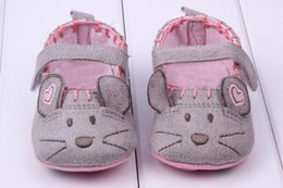 Chaussures Filles Souris Pas Cher-Vente en gros- Cute Baby Girls First Walkers Cotton Grey Cartoon Souris Soft avec Pattern Shading Soft Sole Baby Toldder Prewalkers Shoe 3 taille
