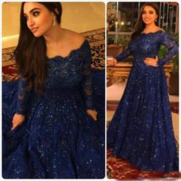 $enCountryForm.capitalKeyWord Australia - Elegant Royal Blue Long Sleeves Evening Dresses Off Shoulder Lace Beads Shiny Prom Party Wear Arabic Myriam Fares Formal Gowns