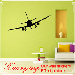 Airplane Art Australia - 2017 Hot DIY Holiday Vinyl Removable Commercial Airliner Wall Decal Home Decor Airplane Silhouette Wall Stickers For Bedroom