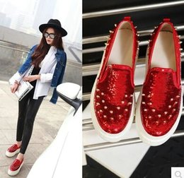 f4a05d6b5347 Wholesale New Arrival Hot Sale Specials Sweet Girl Sexy Noble Leather  Sequins Paillette Rivets Punk Party Single Casual Shoes EU3443 amazon cheap  price ...