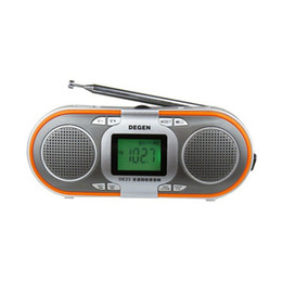 Portable radio batteries online shopping - Original Degen DE23 radio FM stereo MW SW DSP World Band radio Receiver MP3 mini speaker card