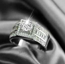 $enCountryForm.capitalKeyWord Canada - Fine Hot sale Luxury Jewelry 10kt white gold filled white topaz Gem Men wedding simulated Diamond Wedding Engagement Ring set