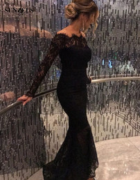 off white ankle length lace dress Canada - Mermaid Lace Evening Dresses Long Sleeves Black Party Gowns Ankle Length Long Formal Wear Off Shoulder