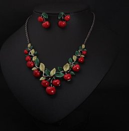 cherry jewelry sets Australia - DHL Cherry Party Jewelry Sets Fashion Costume Bridal Necklace And Earrings Sets for Women Wholesale Brand Very Lovely