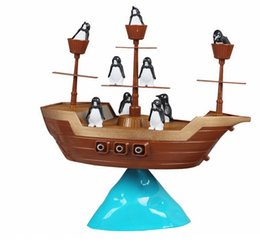 Discount kids pirate ships toys - Wholesale-Don't Rock the Boat Pirate Ship Penguin Balance Game Kids Children Family Activity Toys