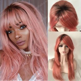 hot pink lace wigs NZ - Hot sale 1b pink two tone remy virgin human hair silky straight with bang virgin brazilian full lace wigs free shipping