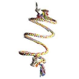 Wholesale ROPE COIL PERCH SWING WITH BELL Squirrel Parrot Toys Parts for medium and larg bird toys
