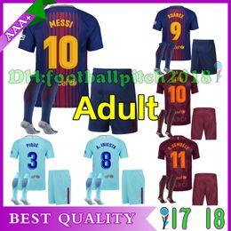 Best quality 2017 2018 New home away 3rd Man soccer Jerseys Messi SUAREZ  O.DEMBELE INIESTA PIQUE 17 18 CamisasMan Adult kit jersey + socks ... b7889dc8d5572